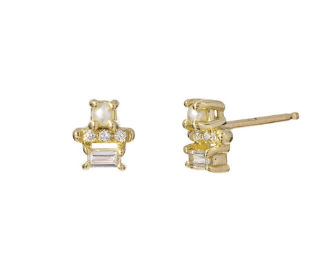 Pearl and Diamond Baguette Bar Studs - TWISTonline