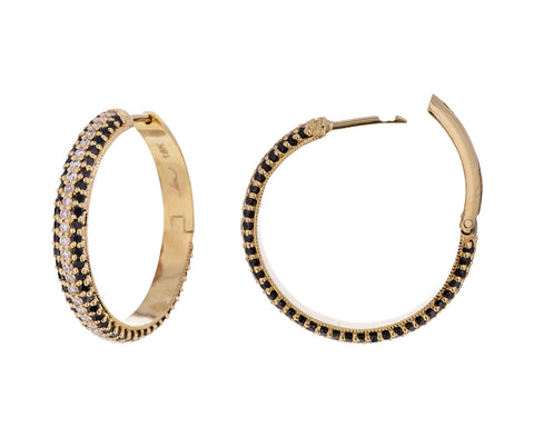 Medium Black and White Diamond Huggie Hoops - TWISTonline