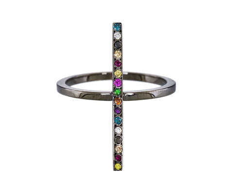 Blackened Gold and Semiprecious Stone Cross Ring - TWISTonline