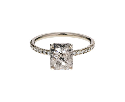Salt and Pepper Cushion Cut Diamond Solitaire - TWISTonline