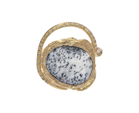 Dendritic Agate and Diamond Gaia Ring