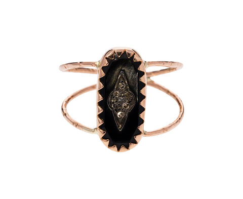 Black Resin and Diamond Mahe Ring - TWISTonline