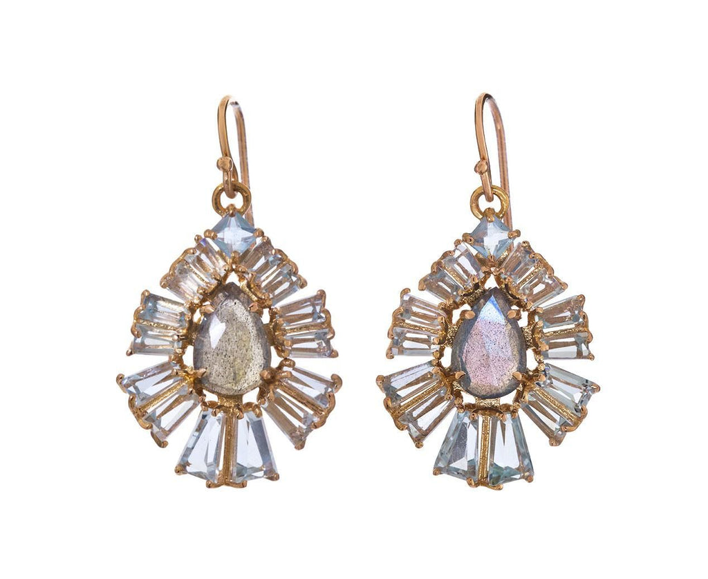 Labradorite and Aquamarine Radiant Fan Earrings - TWISTonline