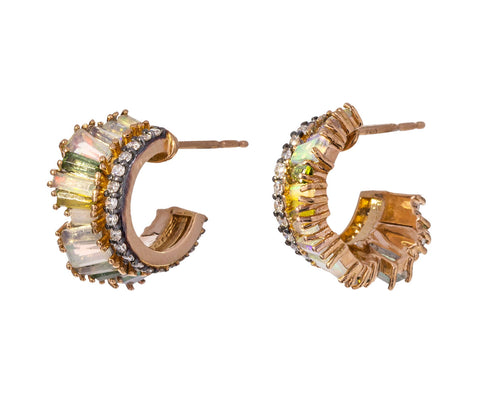 Opal, Diamond, Tourmaline Petite Ruched Hoops