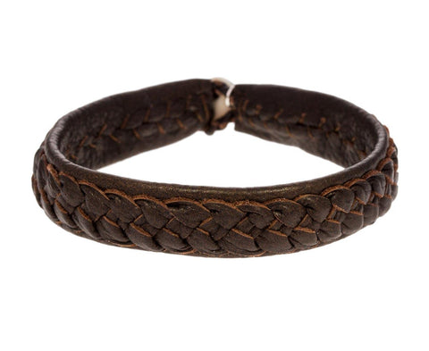 Plain Leather Braided Bracelet - TWISTonline