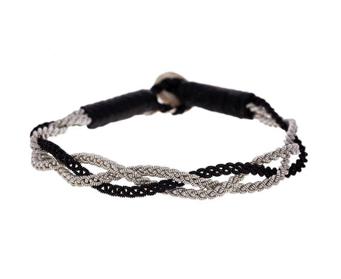 Black and White Pewter Braided Bracelet - TWISTonline