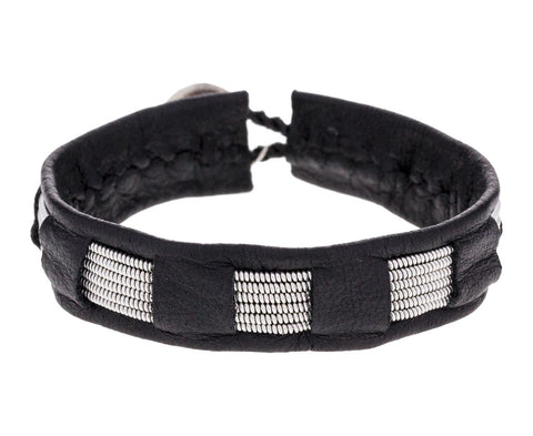 Black Leather and Pewter Squares Bracelet - TWISTonline
