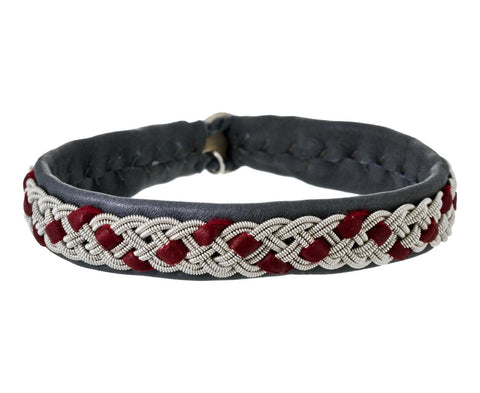 Grey Leather Bracelet with Maroon Leather and Embroidered Pewter - TWISTonline