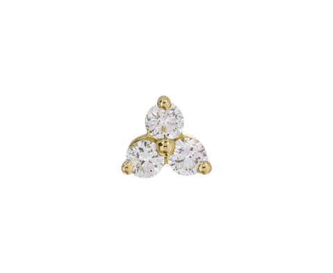 Yellow Gold Diamond Trinity SINGLE Stud - TWISTonline
