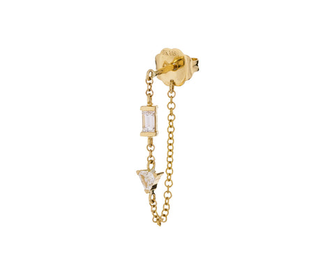 Yellow Gold Diamond Chain SINGLE Earring