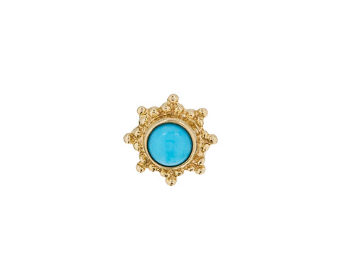 Yellow Gold Turquoise Starburst SINGLE Stud
