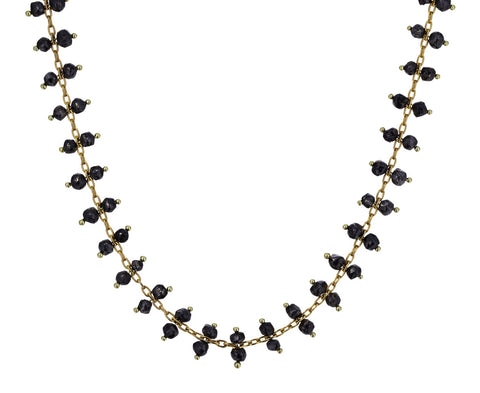 Double Black Diamond Crystal Line Necklace