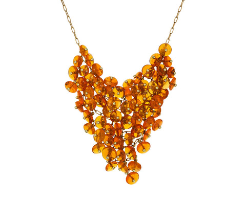 Fire Opal Beaded Bib Necklace - TWISTonline