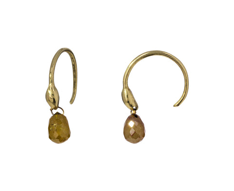 Cognac Diamond Briolette Seed Hoop Earrings