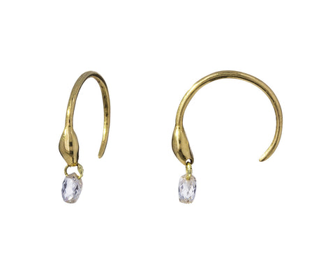 Diamond Briolette Seed Hoop Earrings