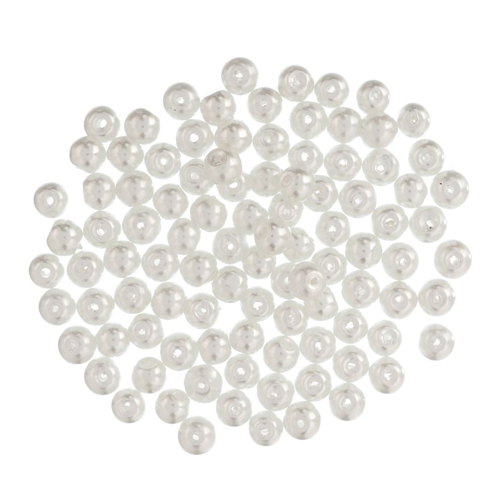 Extra Value Glass Pearls 6mm White: Packs of 100