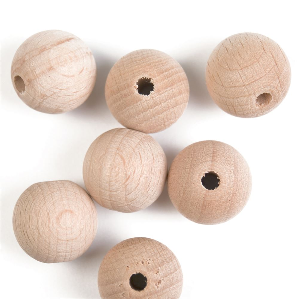 Beads: Beech Wood: 20mm: Pack of 7