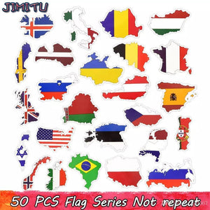 50 Pack of Waterproof Country Flag Stickers