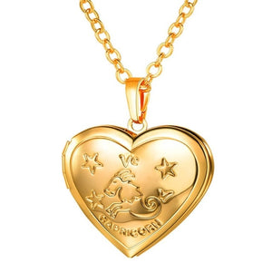 Stylish Gold & Silver Zodiac Heart-Locket w/ Chain