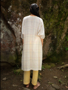Handwoven cotton tunic with dolman sleeves