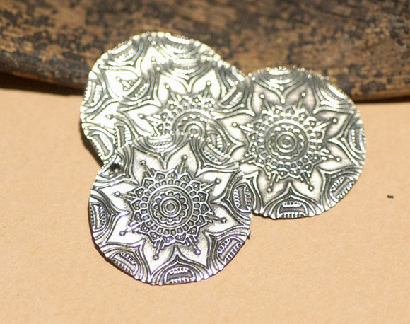Disc 23 Sugar Skulls Flower 20g Blanks for Enameling Polished Textured Blank Shape - Variety of Metals - 4 pieces