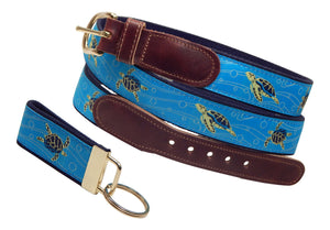 "Preston Leather ""Sea Turtle"" Belt, Navy Web, FREE Matching Key Ring"