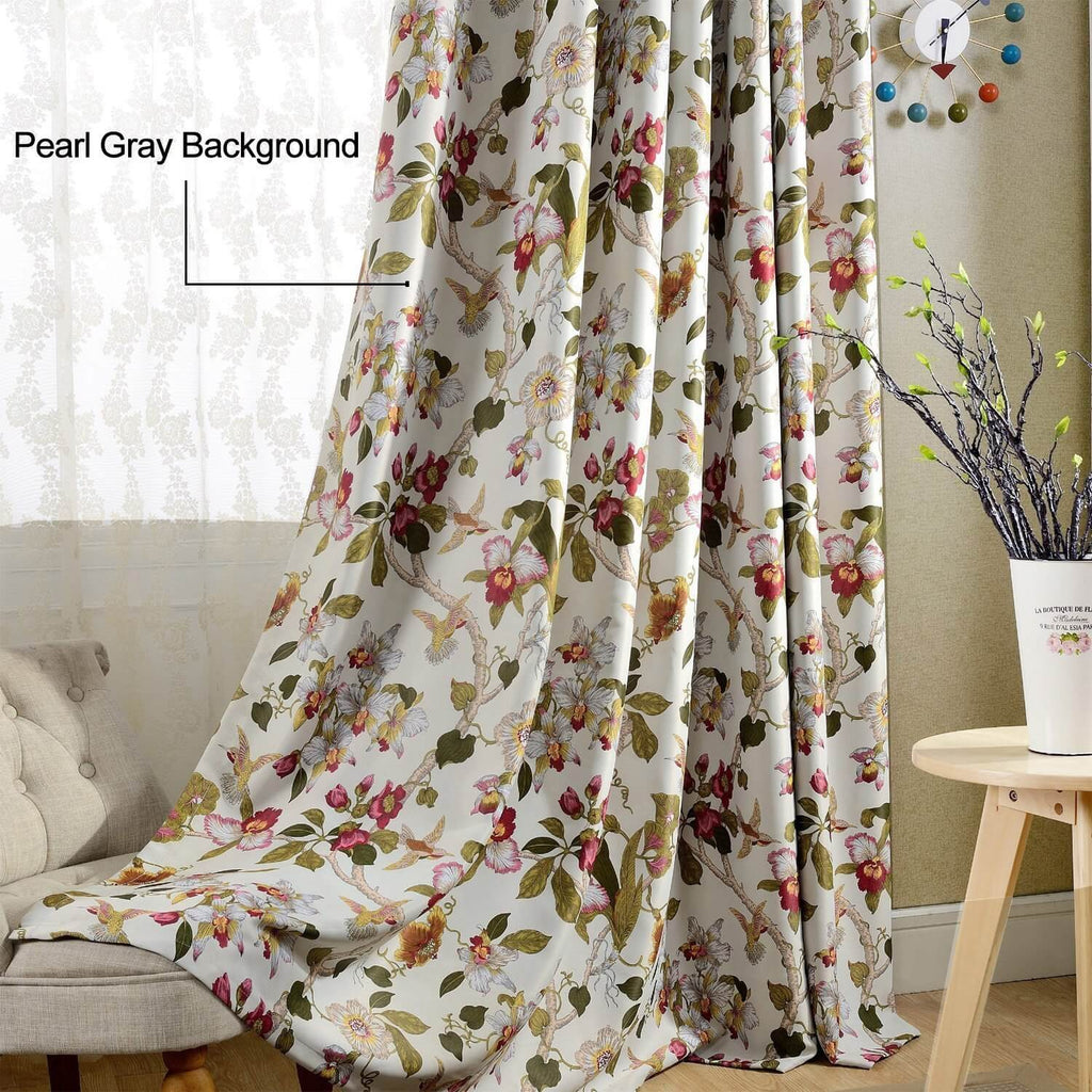 Flower White Sheer Curtains For Living Room Cotton Blend