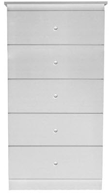 Basics 5 Drawer Chest - White