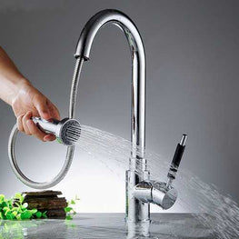 360° Rotating Kitchen Pull Out Spout Faucet Sink Basin Hot & Cold Water Mixer Tap