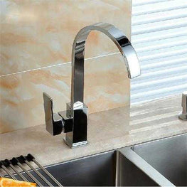 Square Chrome Brass Kitchen Bathroom Hot Cold Water Switch Basin Mixer Tap