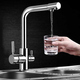 Dual Lever Kitchen 3 Way Water Filter Mixer Tap Sink Flow Modern Flexible Chrome Faucet