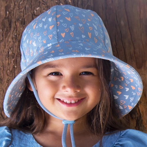 Girls Bucket Hat 'Heart' Print, Bedhead hat - All Things Babies