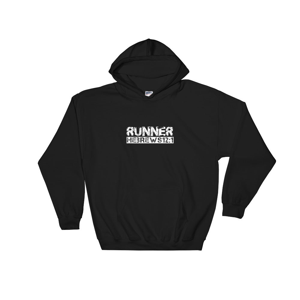 """Runner"" Hebrews 12:1 Christian Hooded Sweatshirt"