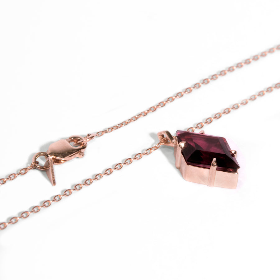 Diamond Cut Garnet Pendant Necklace
