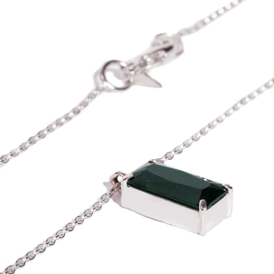 Emerald Cut Tourmaline Pendant Necklace