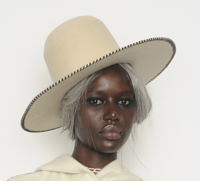 Beaver Felt Wide Brim Leather Whip Whipstitch Wendy Nichol Designer Hat Handmade in NYC New York City Witch Pilgrim Goth Gothic Victorian El Topo High Tall Hat Wide Brim Formation Video Beyonce Black Hat Ajak Deng IMG Model Cream Off White Hat
