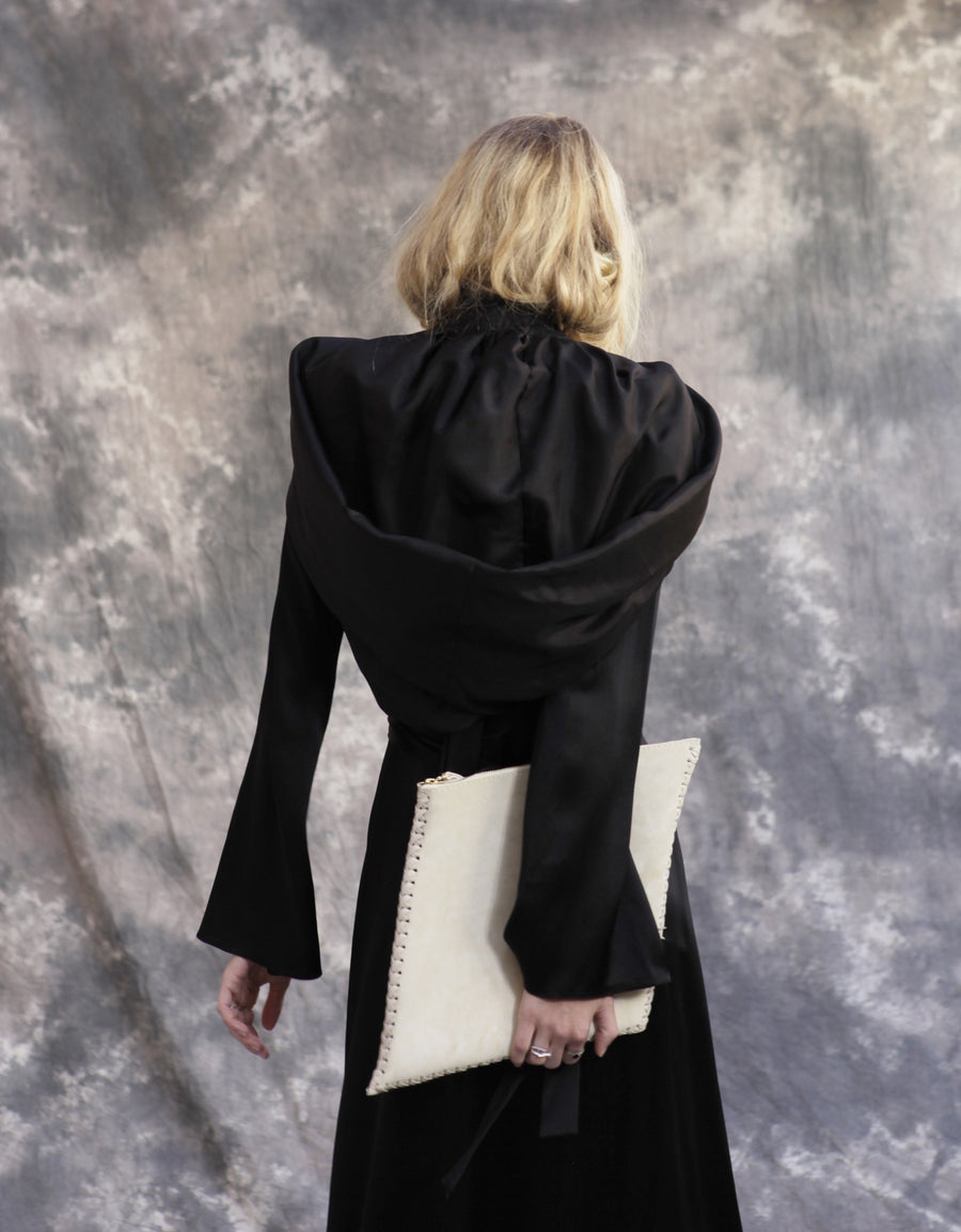 Maggie Laine IMG model Wendy Nichol SS17 Fashion Show Death Valley Silk Habotai Hood Handmade in NYC New York City Puffy Hood Edwardian Victorian Gothic Goth Vampire Dracula Hooded Bow Tie Shoulder cover