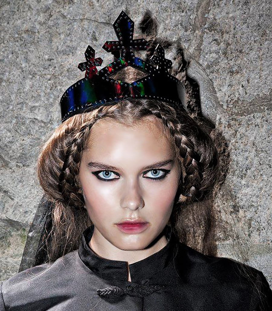 Rainbow Black Patent Leather Queen Crown Wendy Nichol Designer Handmade in NYC New York City cut out Diamond Crosses Leather Cross Victorian Medieval Crown Headpiece Headdress Headband Tiara Diadem High Priestess Sorceress Wedding Bride Bridal Crown Veil Witch Solveig IMG Model