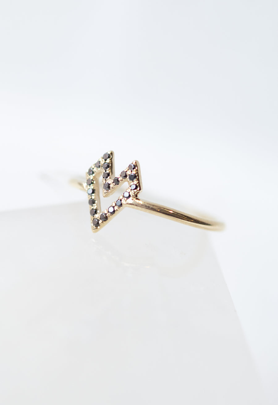 Micro Pave Medium Gothic Heart Ring