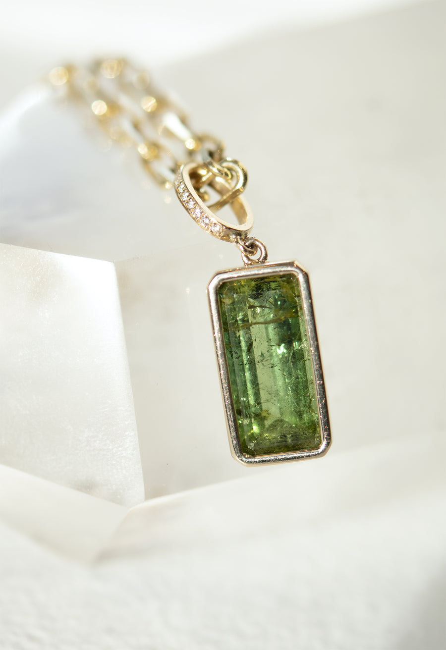 Emerald Cut Tourmaline Pendant Necklace with Micro Pave Link