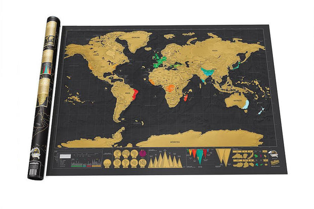 Free shipping Deluxe Black Scratch Off Map World Map Best Decor School Office Stationery Supplies  Toffee Tops Gear