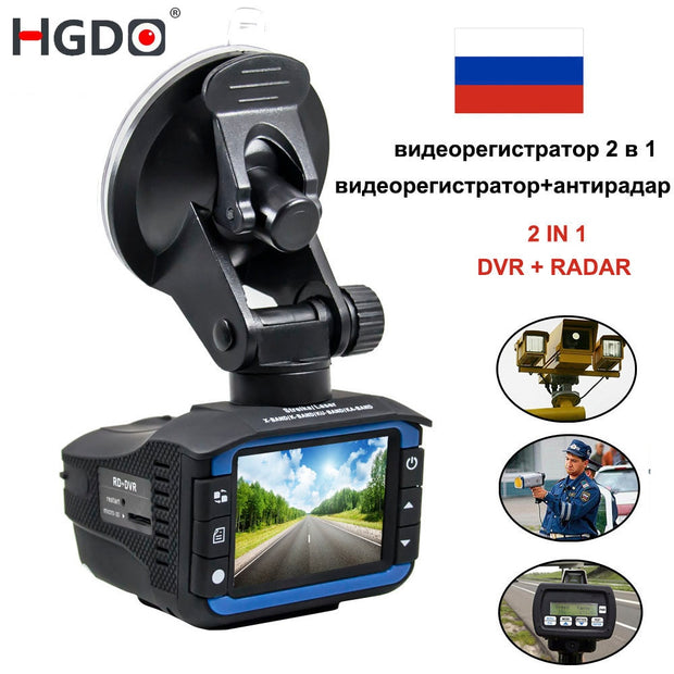 HGDO 2 In 1 Car Radar Detector DashCam Car DVR - 140 Degree HD 720P  Toffee Tops Gear
