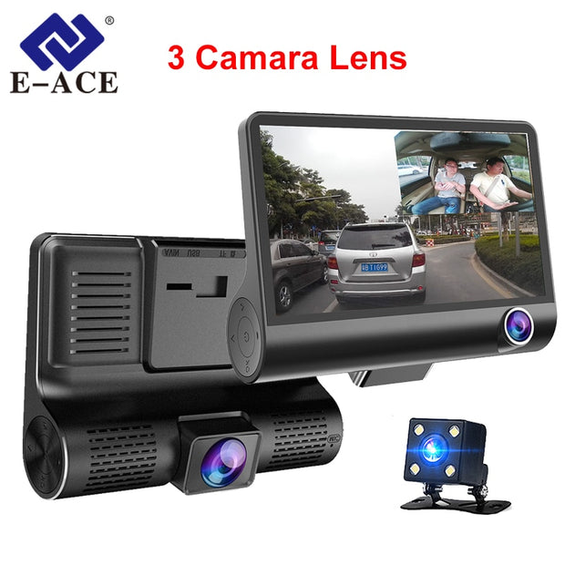 E-ACE DashCam DVR 3 Dual Lens with rear view camera  Toffee Tops Gear