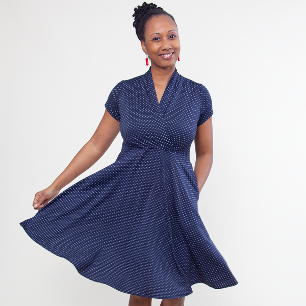Joan Dress in Navy Pin Dot by Karina Dresses