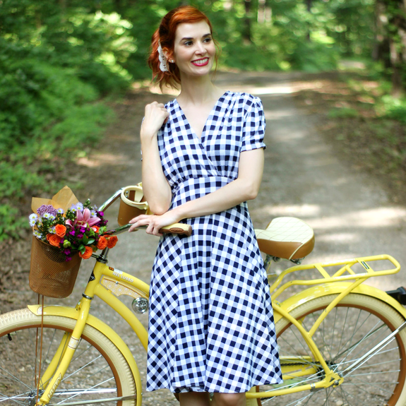 Megan Dress in Navy with White Gingham by Karina Dresses