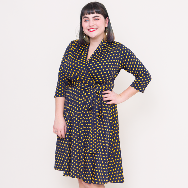Ruby Dress in Navy with Gold Polka Dots by Karina Dresses