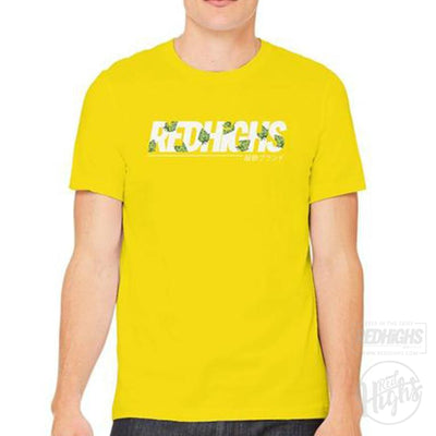 men tshirt - red highs weed 2 - yellow-Men's T-Shirts-Red Highs-redhighs-streetwear-clothing