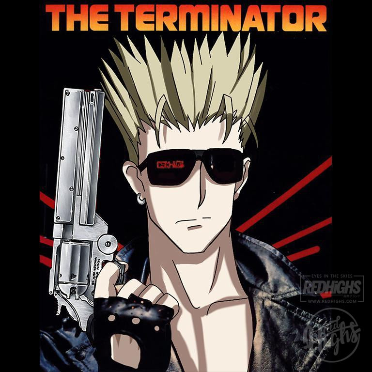 men tshirt - the terminator X Trigun - white-Men's T-Shirts-Red Highs-redhighs-streetwear-clothing
