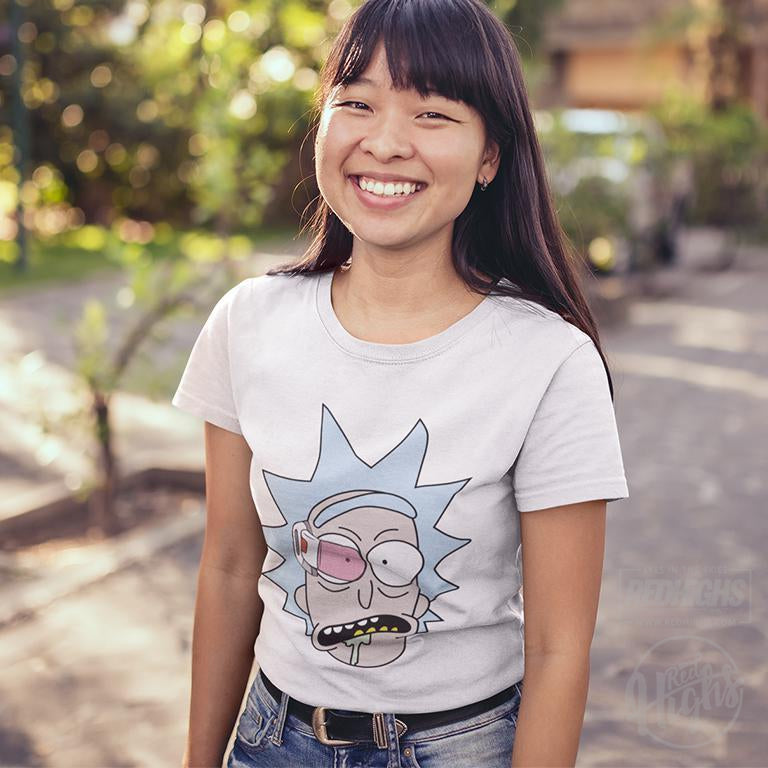women tshirt - rick and morty x dragon ball - white-Women's T-Shirts-Red Highs-redhighs-streetwear-clothing