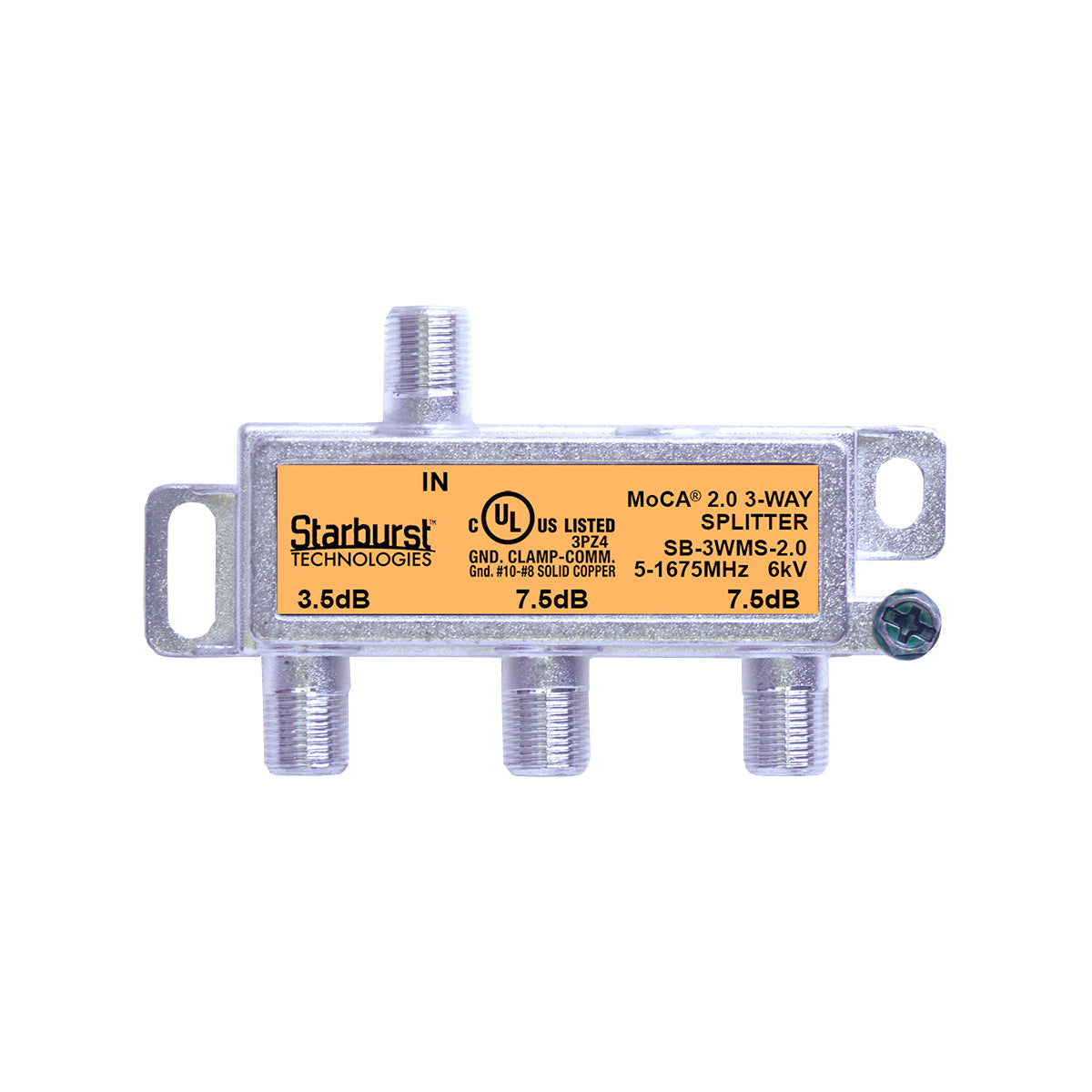 SB-3WMS-2.0 - 3 Way Horizontal Coaxial Cable Splitter, 6Kv Rated, 5-1675 MHz Wide Band For Ethernet Over Coax Universal Home Networking, Compatible With 1GHz, MoCA 2.0, HPNA and DOCSIS 3.1 Networks